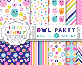 Owl Digital paper, flowers, stripes, polka dots, birthday party, bright colors, owls, OWL PARTY, instant download