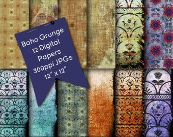 Digital Paper | Bohemian Digital Scrapbooking Backgrounds | Scrapbooking Supplies | Boho Digital Papers | Grunge Digital Paper | Digital Art