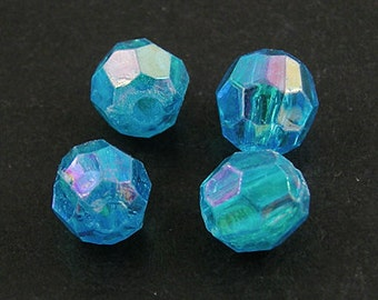 100 6mm Iridescent Acrylic Round AB Bead Faceted Sky Blue