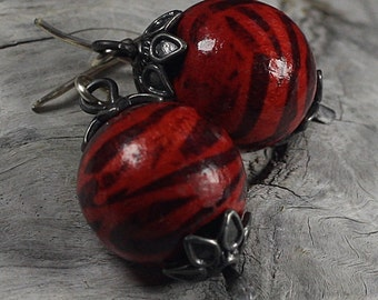 30% Off Red Earrings With Pewter Caps