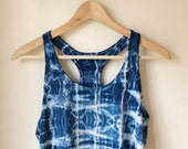 Hand Dyed Indigo Racer Back Tank Top in Ocean Tide, Anna Joyce, Satin Jersey, Portland Oregon