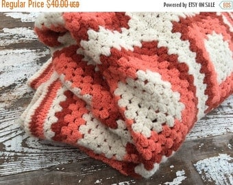 SALE- Vintage Crocheted Granny Square Afghan Blanket-Coral and Rust-Acrylic