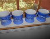Vintage Currier and Ives blue coffee mugs cups Homestead in winter barn colonial house set of 4