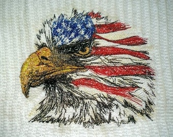 Eagle in Red, White and Blue - Machine stitched American Eagle on a white Kitchen Bar Towel