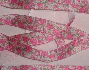 Roses Grosgrain Ribbon Flowers Rose Flower Hot Pink White Lime Shabby Cottage Chic Roses Trim One Inch Wide