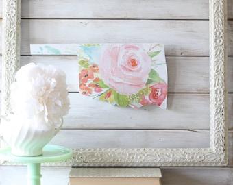 Oklahoma Home Sign. Oklahoma State Home Sign. Oklahoma. Oklahoma Art. Shabby Chic. Oklahoma Wall Art. Pink Floral Home Decor. Housewarming
