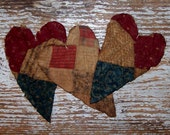 3 Heart Ornaments, Primitive Hearts, Tattered Hearts, Rustic Farmhouse Decor, Antique Quilt Hearts, Blue White Claret - READY TO SHIP