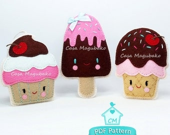Felt Cupcake, Ice Cream Cone & Ice Pop Sewing Pattern - Party Treats Sewing Tutorial - DIY Digital Pattern - PDF Instant Download