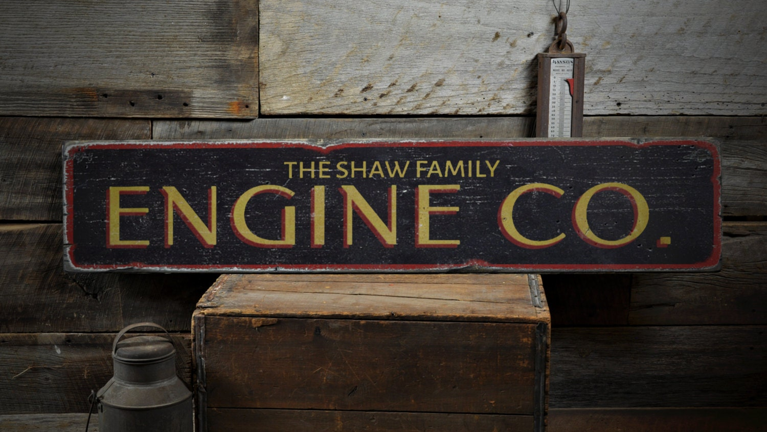 Firefighter Man Cave Signs : Engine co wood sign custom family name fireman man cave