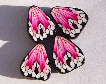 Pink Black Butterfly Wing Handmade Artisan Polymer Clay Beads