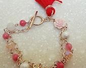 Valentine Valentine Love Bracelet pink jade Cotton pearl pink quartz, glass beads. love charm red tassel Rose Flower Cabochon