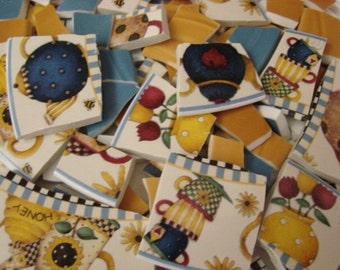 Mosaic Tiles Big Bees Honey Tea Pots Sakura Broken Plate Tile Tesserae art Supply