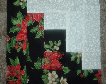 Set of 12 Presewn Individual Log Cabin Quilt  Blocks  8.5 inches Christmas