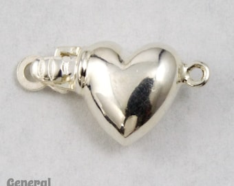 9mm Sterling Silver Puff Heart Box Clasp with 1 Loop (Set) #BSC054