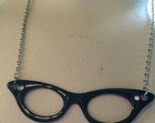 Black Cateye Glasses Necklace