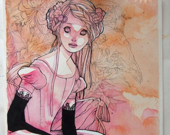 Ink and Watercolor Illustration - Black Gloves - Victorian - Whimsical - Watercolor - ORIGINAL - OOAK - Floral