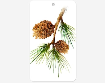 Set of 48 Holiday gift tags, Pine Cone with Branch gift tags, Christmas gift tags