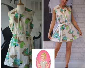 Vintage 1970's Refashioned Upcycled Reclaimed Scooter Mini Shift Dress Size Medium / Large (R01)