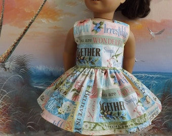 American Girl Doll Clothes Dress Hydrangea Passion Words of Wisdom Shabby Chic Medley
