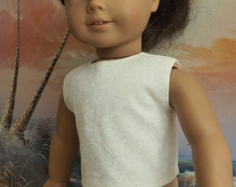 18 Inch doll Ecru Off White Modified Crop Top Will Fit American Girl
