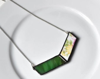 ETSYVERSARY SALE Broken China and Stained Glass Chevron Necklace - Green Pink and Yellow Floral