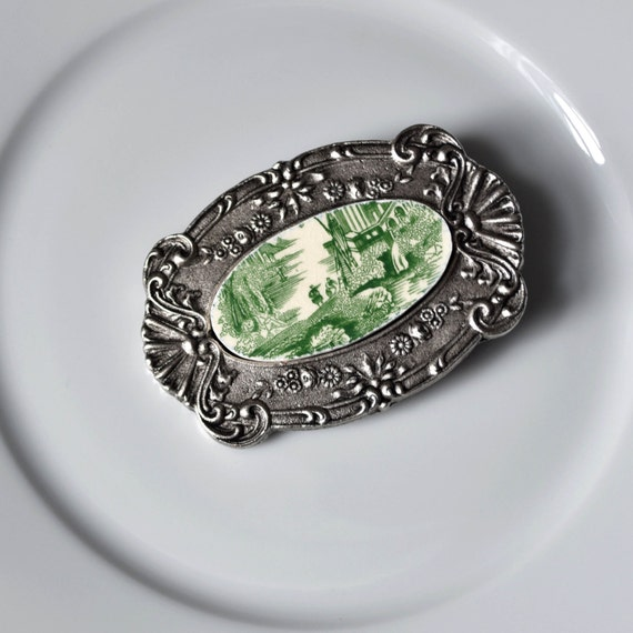 Recycled China Belt Buckle - Green Transferware