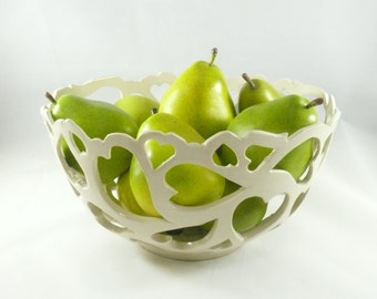 White Ceramic Fruit Bowl with Hearts, Large Cut Out Art Vessel, Decorative Pottery, Ceramic Vase, Art Object, Collectible Artwork 336