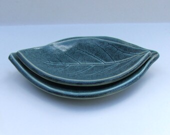 Ceramic Plates, Hand Built, Nested,  Persimmon, Antique Blue