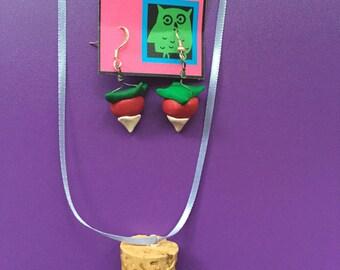 Luna Lovegood Radish Earrings and Cork necklace harry potter