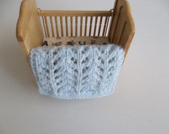 Doll Blanket -  Light/Pale Blue -  Miniature Crib Doll House Blanket/Afghan - One Twelfth Scale Doll House