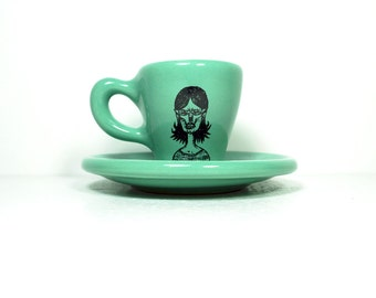 zombie number f. espresso cup w/saucer glazed in blue green. Made to Order / Pick Your Colour