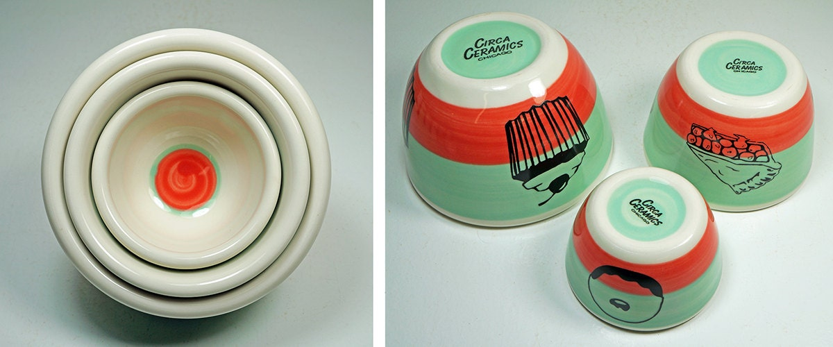 The Urban Set of Sweet Treats, in a color block of blue-green and red-orange, Made to Order.