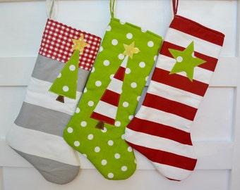 Colorful Christmas Stocking - Christmas Stockings - Modern Christmas Stockings - Kids Holiday Stocking - Tree Stocking -Star Stocking
