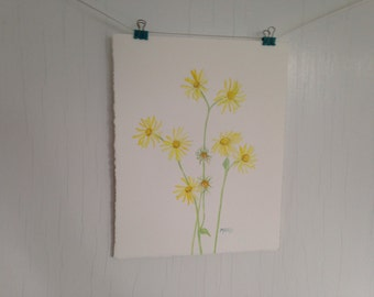 Yellow Daisies Watercolor Painting, Yellow Flower Watercolor Painting, Original Flower Painting, Flower Art, 8 x 10 inch, Home Decor