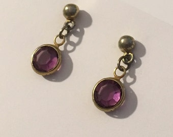 Vintage Purple Stone Pierced  Earrings