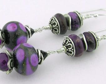 Black purple lampwork amethyst sterling earrings - charoite spots orchid brown