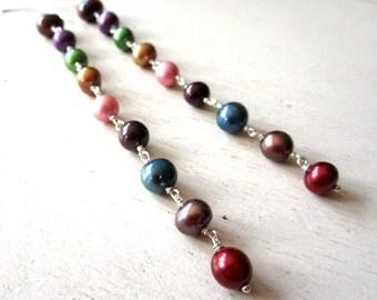 Juicy Fruit Pearl Earrings - Super Long - Sterling Silver - Etsy Jewelry - catROCKS - Grace and Frankie - Pink Red Blue Gold Purple - fall
