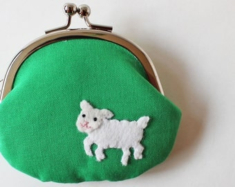 Handmade coin purse jumping lamb on green, kiss lock coin purse, change purse, frame pouch, kelly green, white, farm animal, spring