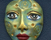 Polymer Clay One of a Kind  Spirit Doll Abstract Textured  Face Cab   UNDrilled TRI 1 B
