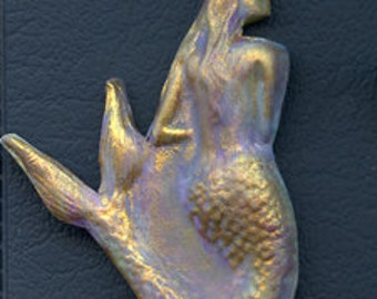 Polymer Clay Textured Mermaid Cab   Undrilled  MMD4