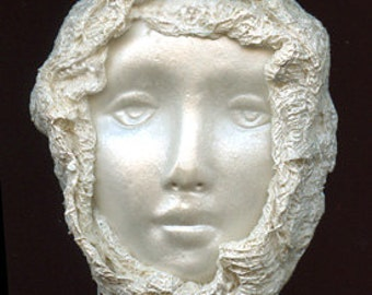 "Polymer Clay One of a Kind  White Pearl  2 1/2"" x 2"" Face with Fabric  Cab  WPFF 3"