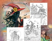 Halloween Witch Coloring Book - Molly Harrison - For Adults and Older Kids - Fantasy Art Illustrations, wiccan, autumn, fall,