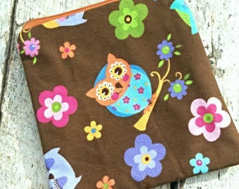 Brown owls and flowers square zipper pouch