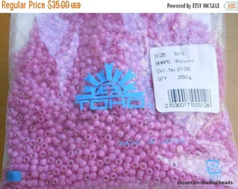 60% OFF SALE Toho Seed Beads 6/0 - Factory Pack -  Silver Lined Milky Mauve