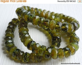 25% OFF Summer Sale Picasso Czech Glass Beads Czech Rondelle Beads 3x5mm Olivine Picasso - 30 pcs (G - 178)