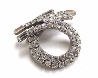 Vintage Clear Rhinestone Brooch Round Swirl Baguette Stones Retro Silver Tone
