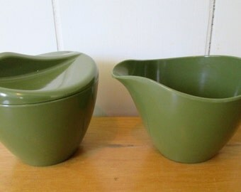 vintage olive green melmac sugar and creamer Royalon