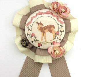 Deco Deer Rosette Taupe x Cream