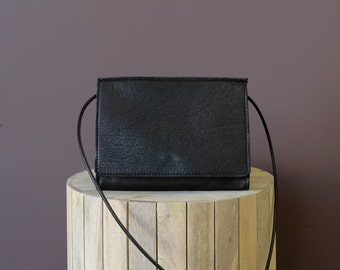 Leather Crossbody Purse, Leather Clutch Purse in Black Leather and Suede Interior: The ADELAIDE in black by Awl Snap