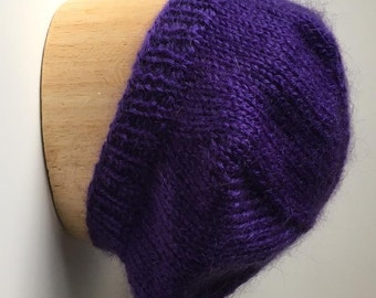 Violet Beret Handknit in Mohair Acrylic Blend Yarn - Soft and Lovely!